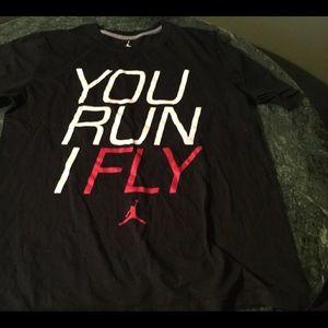 Men's large air Jordan You run I fly black T, EUC